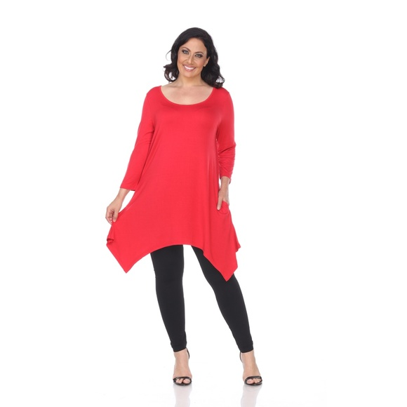 a89cb4926da Plus Size Makayla Lux Tunic Rayon Red  PS1302-04